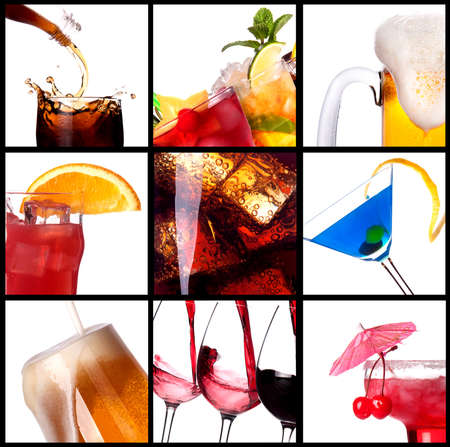 wine  pink: collage with alcohol cocktails - beer, martini, soda,cola,cocktail,wine