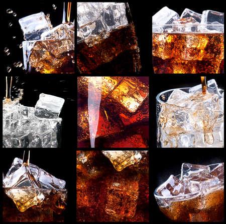Frisse cola achtergrond met splash en ijs