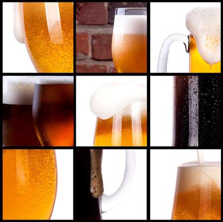 Frosty vers bier set met schuim achtergrond Stockfoto