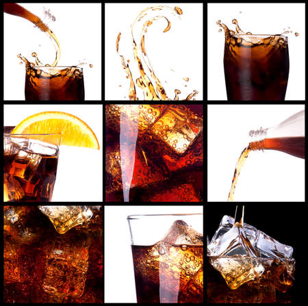 carbonated drink: Fresh cola background with splash and ice