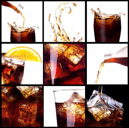 frisdrank: Verse cola achtergrond met splash en ijs