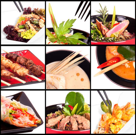 Collection of different meat dishes - soup, BBQ, porky,beaf,salad,sea food photo