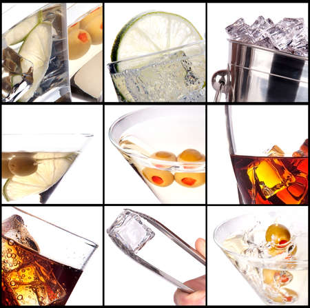 collage with alcohol cocktails -  martini, soda,cola,cocktail,wine,whiskey Stock Photo
