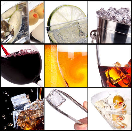 collage with alcohol cocktails - beer, martini, soda,cola,cocktail,wine,whiskey photo