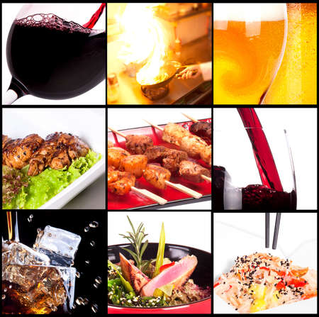 food collage: Collection of different meat dishes and alcohol drinks