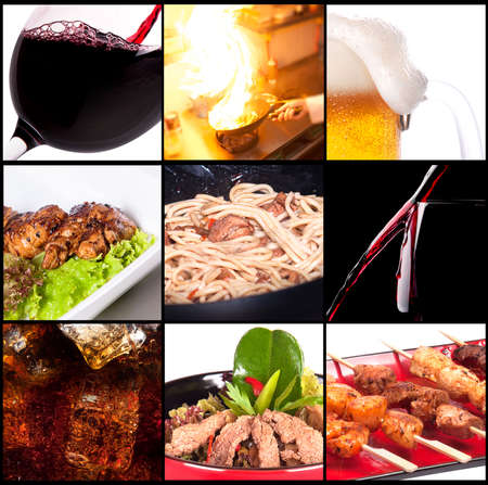 Collection of different meat dishes and alcohol drinks Stock Photo - 18734373