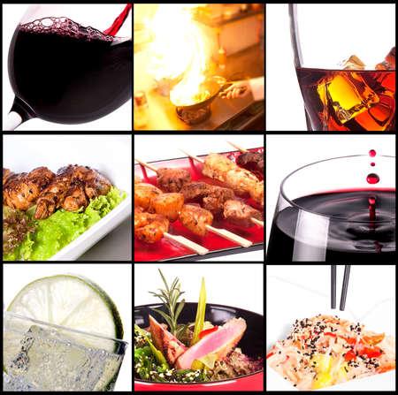 gourmet dinner: Colecci�n de platos diferentes de carne y bebidas alcoh�licas