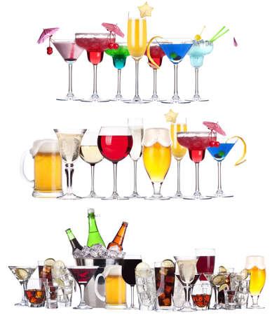 맥주, 마티니, 탄산 음료, 샴페인, 위스키, 와인, 콜라, 칵테일 - 다른 알콜 음료와 칵테일의 집합