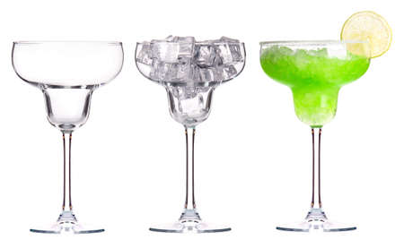 shaken: alcoholic cocktail set -cocktail,empty glass,glass with ice Stock Photo