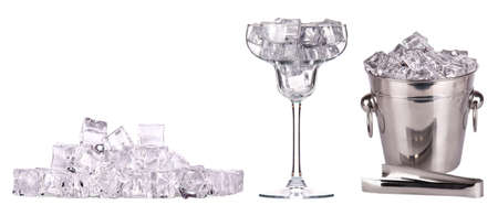 bar accessories with ice and full of ice cocktail glass isolated photo