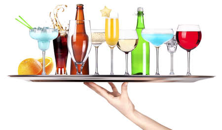 different alcohol drinks on a tray - beer, cocktail, champagne, wine, whiskey, cola photo