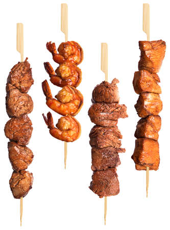 chicken meat: fresh grilled meat dishes set isolated on a white background Stock Photo
