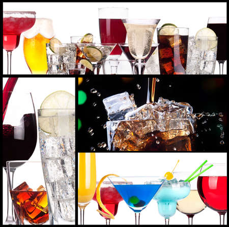 Set of alcoholic cocktails background photo