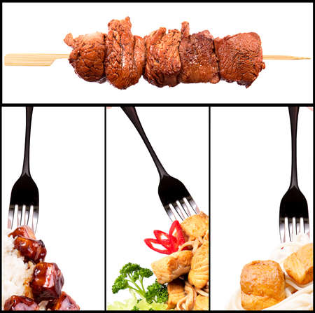 Collection of different meat dishes -  BBQ, pork,beef,salad,satay,sea food,chicken,noodles photo