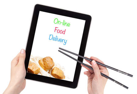 Online Food Delivery concept with computer isolated
