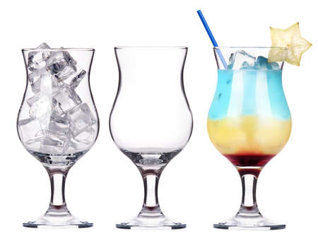 alcoholic cocktail set -cocktail,empty glass,glass with ice Stock Photo