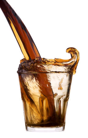Fresh cola drink background with splash isolated on a white photo