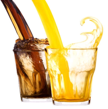 soft drinks: pair of Fresh cola drink background with splash isolated on a white Stock Photo