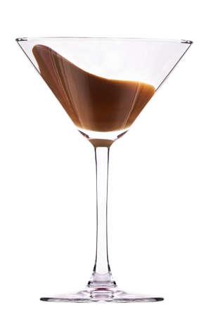 chocolade cocktail met splash geïsoleerd op wit Stockfoto