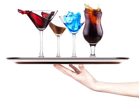 alcoholic cocktail set  splash - Red cosmopolitan, Blue Curacao, Chocolate cocktail, Fresh cola photo