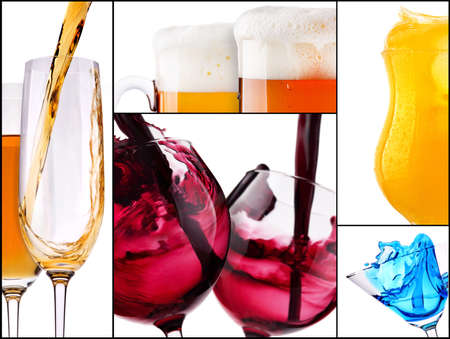 collage with alcohol cocktails - beer, martini, Curacao, soda, cosmopolitan, cola, cocktail, wine,  champagne, whiskey photo