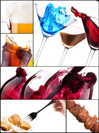 different meat dishes and alcohol drinks photo