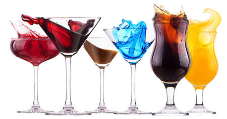 alcoholic cocktail set  splash - Red cosmopolitan, Blue Curacao, Chocolate cocktail, Fresh cola, Orange juice