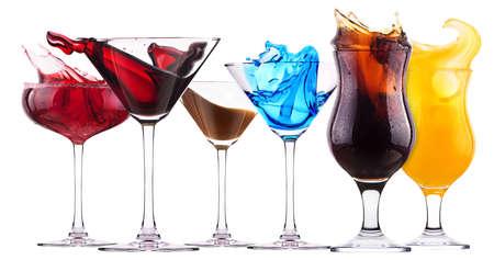 alcoholische cocktail set splash - Red kosmopolitische, Blue Curacao, chocolade cocktail, Fresh cola, jus d'orange