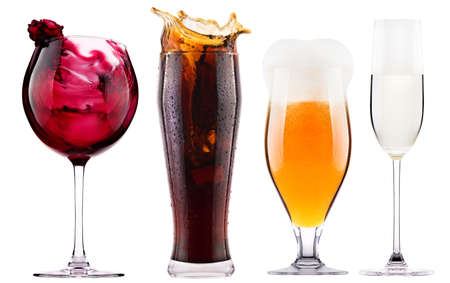 Collection of different images of alcohol isolated - cola,beer,wine,champagne