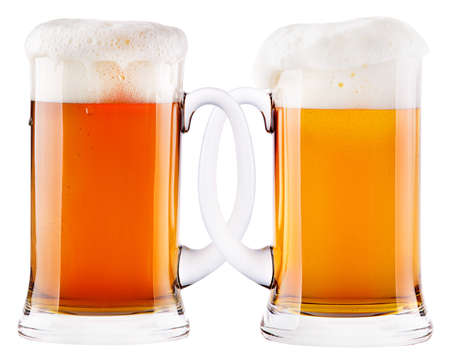 Two beer mugs being attached to each other. The glasses ( Mass of beer ) are typical for the Octoberfest in Munich photo