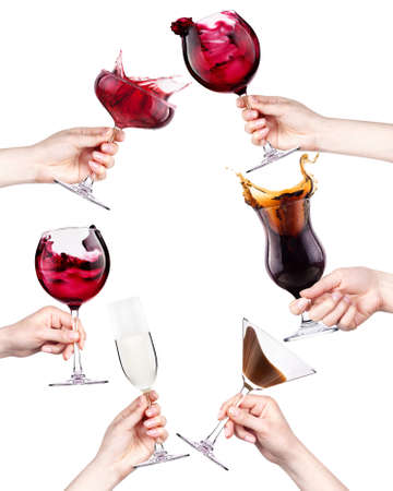 celebrate the holiday background - hands with drinks making toast. wine,cola, cocktail,champagne photo