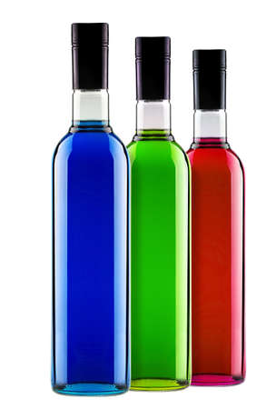 full bottles of different multicolored alcoholic cocktails isolated photo