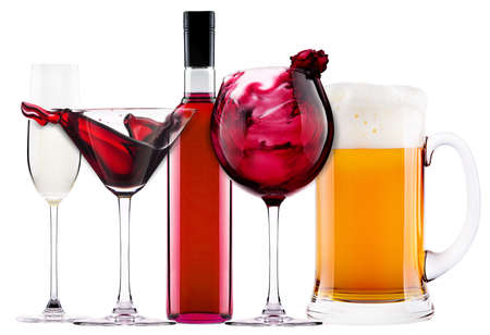 alcoholic cocktail set  splash - cocktail, cola, beer, wine,champagne Stock Photo - 19097077
