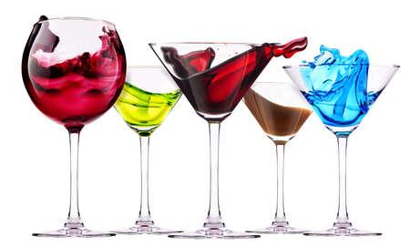 알콜 칵테일 세트 - 코스모 폴리탄, 블루 큐라 소, 초콜릿 칵테일, 마티니, 마가리타, 와인 스톡 사진
