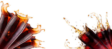 Fresh soda background with ice and splash isolated on a white photo