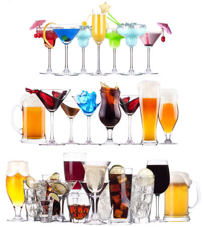 Set of different alcoholic drinks and cocktails - beer,martini,soda,champagne,whiskey,wine,cola,cocktaildad photo