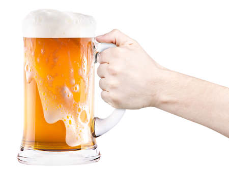 beer with man hand making toast isolated photo
