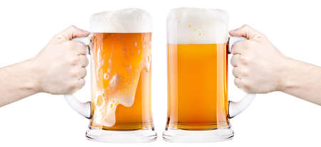 froth: beer with man hand making toast isolated