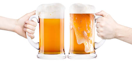 beer with man and woman hand making toast isolated Stock Photo - 19259034
