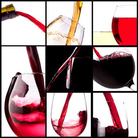 Red splashing wine set background Stock Photo