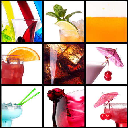 collage with alcohol cocktails - beer, martini, soda,cola,cocktail,wine photo