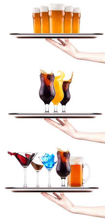 Set of different alcoholic drinks and cocktails - beer, martini, soda, champagne, whiskey, wine, cola, coke, cocktail photo