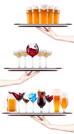 Set of different alcoholic drinks and cocktails - beer, martini, soda, champagne, whiskey, wine, cola,  cocktail photo