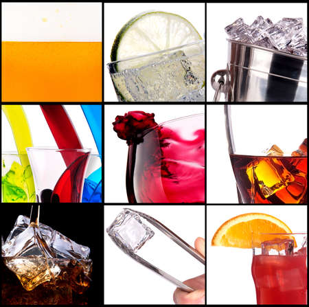 collage with alcohol cocktails - beer, martini, soda,cola,cocktail,wine,whiskey Stock Photo