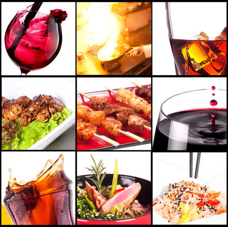 gastronomy: Collection of different meat dishes and alcohol drinks