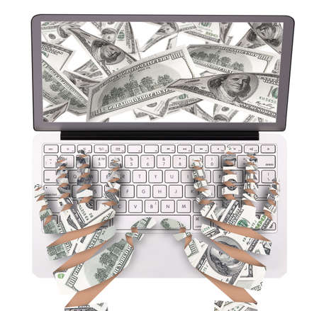 making money with computer concept isolated photo