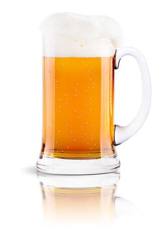Frosty fresh beer with foam isolated background photo