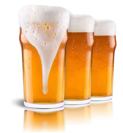 mug of ale: Frosty fresh beer collection with foam isolated background Stock Photo