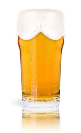 draught: Frosty glass of light beer isolated on a white background