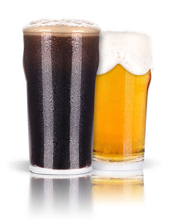 un bottled: Frosty glass of dark  and light beer set isolated on a white background